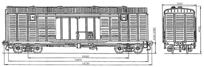 4-осный крытый цельнометаллический вагон с уширенными дверными проемами, модель 11-217.
