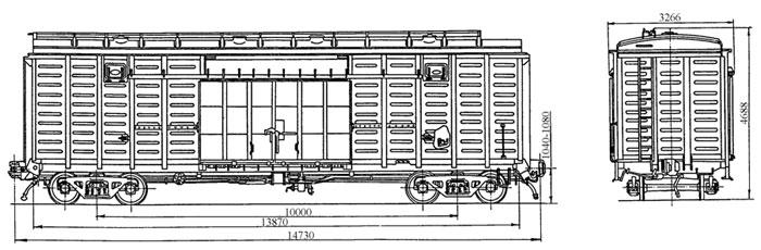4-осный крытый цельнометаллический вагон с уширенными дверными проемами, модель 11-270.