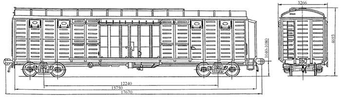 4-осный крытый цельнометаллический вагон с уширенными дверными проемами, модель 11-286.
