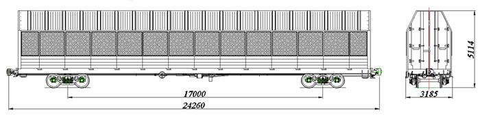 Грузоподъемность, тонн: 16 (40) Размеры вагона внутренние, м (Длина/Ширина): 22,940/3,000 Масса тары вагона, тонн...