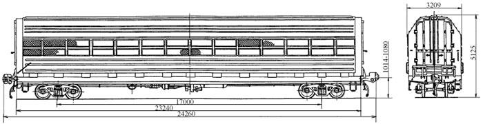4-осный крытый вагон для легковых автомобилей, модель 11-835.