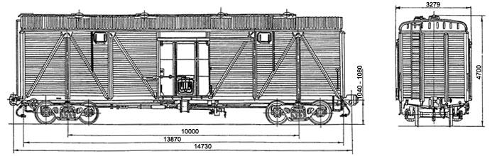 4-осный крытый вагон с заменой деревянной торцевой стены на металл, модель 11-066-10.