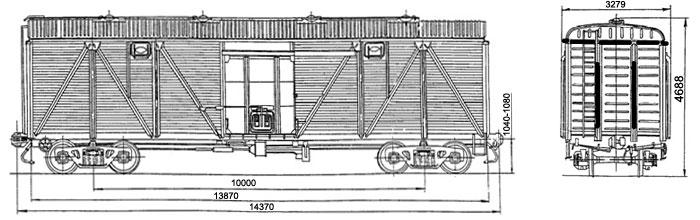 4-осный крытый вагон (с металлической торцовой стеной), модель 11-066.